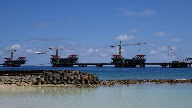 The under-construction China Maldives Friendship Bridge is pictured near the city of Male.(AFP File Photo)
