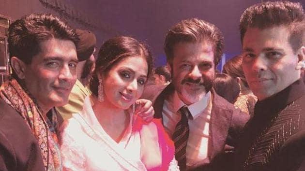 Manish Malhotra poses with Sridevi, Anil Kapoor and Karan Johar at the wedding ceremony of Mohit Marwah.