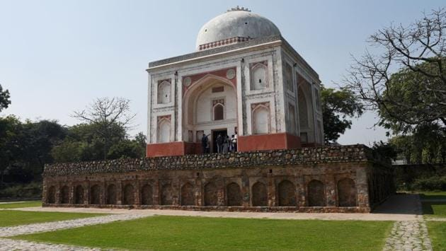 """A view of the Lakkharwala Gumbad in the Sunder Nursery lawns. Officials say that the garden will be next only to Lodhi Garden among the city's parks in terms of heritage, flora and fauna. """"The garden has 15 monuments, double the number at Lodhi Garden,"""" said Ratish Nanda, CEO, Aga Khan Trust for Culture (AKTC). (Vipin Kumar / HT Photo)"""
