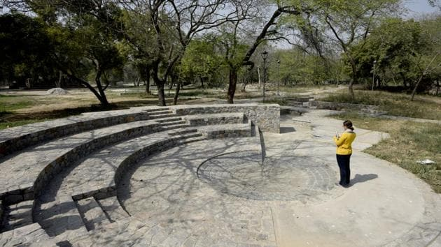 A sunken amphitheatre has also been created to host cultural evenings and music festivals. (Vipin Kumar / HT Photo)