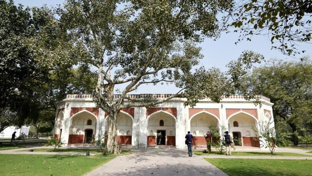 """A long view of the Sunderwala Mahal after restoration. """"Landscape architect Late M Shaheer redesigned this park. The landscaping of the park includes Delhi's first arboretum, an amphitheatre, ponds and lakes, nursery beds, a flower showcase, rose gardens and orchards,"""" Ratish Nanda added. (Vipin Kumar / HT Photo)"""