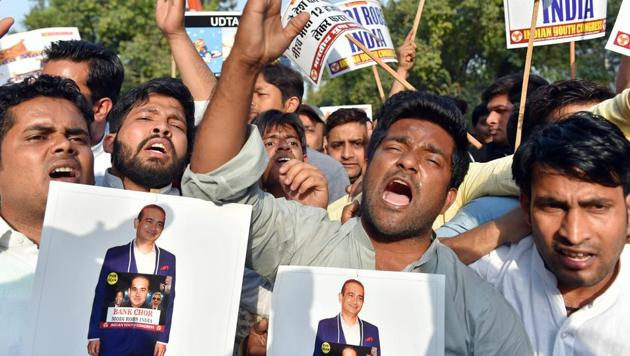 Youth Congress protest against Nirav Modi and the Punjab National Bank fraud case in New Delhi on Wednesday.(PTI Photo)
