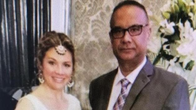 Jaspal Atwal, a convicted Khalistani terrorist , photographed with Canadian Prime Minister Justin Trudeau's wife Sophie Trudeau at an event in Mumbai on February 20 .(ANI Photo)