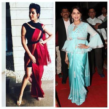 Actor Kirti Kulhari and Madhuri Dixit in fusion versions of sari.