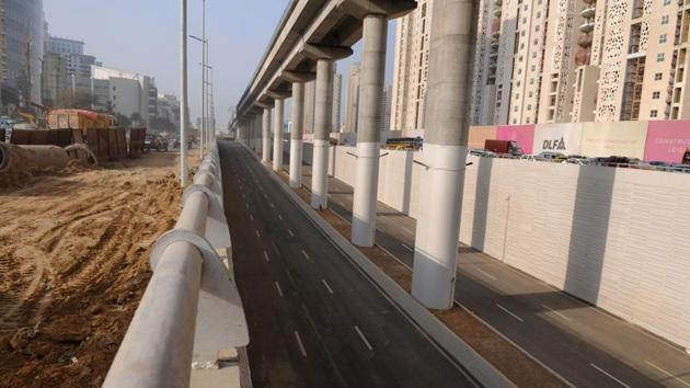 Gurgaon, India- February 21, 2018: The underpass at Genpact Chowk on the Golf Course Road is likely to be launched on March 31 as per Haryana Urban Development Authority (HUDA) officials, in Gurgaon, India, on Wednesday, February 21, 2018. (Photo by Parveen Kumar/Hindustan Times)(Parveen Kumar/HT Photo)