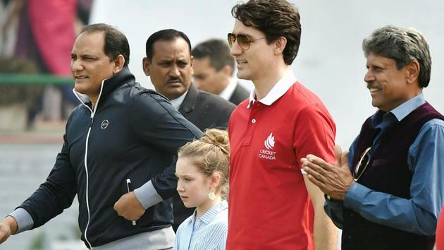 Justin Trudeau, the Canadian Prime Minister, participated in a promotional cricket event in New Delhi and signed a bat wishing the Global T20 Canada all the luck.(PTI)