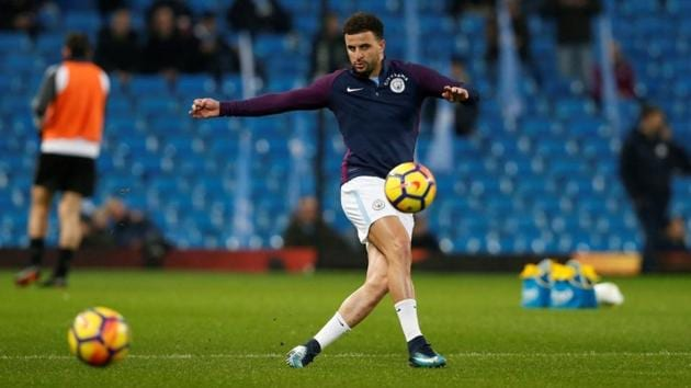 Kyle Walker is hoping to help Manchester City to League Cup success when they take on Arsenal in the final on Sunday.(REUTERS)