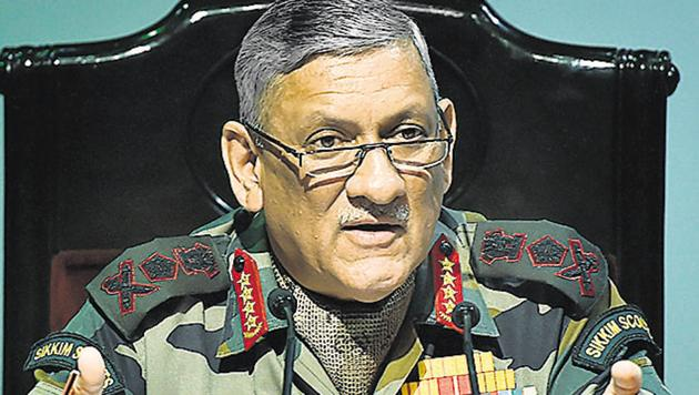 Army chief General Bipin Rawat addresses a press conference in New Delhi.(PTI File Photo)