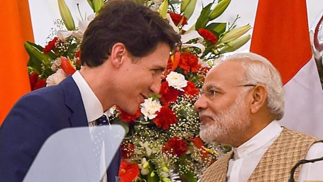 Prime Minister Narendra Modi and his Canadian counterpart Justin Trudeau during their joint press conference at Hyderabad House in New Delhi on Friday.(PTI)