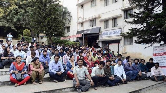 After the fourth phase of their agitation on February 2, the teachers claimed to have been pushed into the next phase due to the government's lag in keeping their'promises'.(HT Representative Photo)
