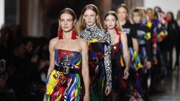 Models take the catwalk during the Versace women's Fall/Winter 2018-2019 collection, presented during the Milan Fashion Week, in Milan.(AP)