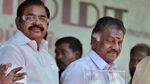 Tamil Nadu chief minister Edappadi K Palaniswami and deputy CM O Panneerselvam during an event to unveil a statue of J Jayalalithaa at party headquarters in Chennai.(PTI Photo)