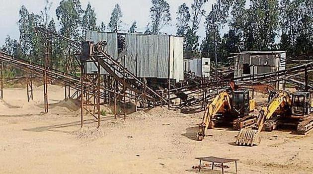 A stone-crushing unit defunct near Pathankot.(HT Photo)