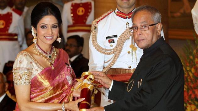Sridevi, who died following a cardiac arrest in Dubai late Saturday, is seen receiving Padma Shri from the then President Pranab Mukherjee at Padma Awards 2013 at the Rashtrapati Bhavan.(PTI)