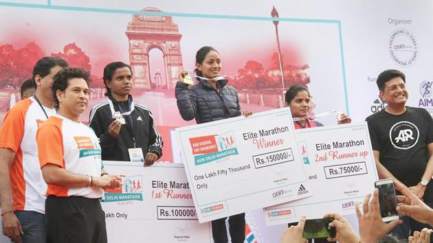 Monika Athare defended the title but was far from the Gold Coast qualifying time of 2:30. She won in 2:43.46, failing to go past her personal best of 2:39.(PTI)