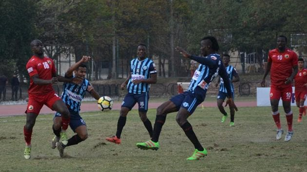 Minerva Punjab FC, who will face Aizawal FC on Monday, are in a strong position to win the I-League.(HT Photo)