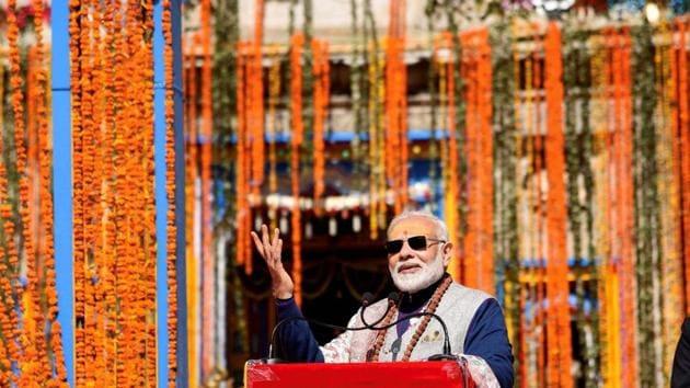 Prime Minister Narendra Modi at Kedarnath in Uttarakhand.(PTI)
