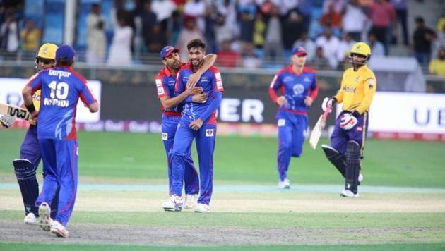 Karachi Kings won the Pakistan Super League contest against Peshawar Zalmi in Dubai on Sunday.(Karachi Kings/Twitter)