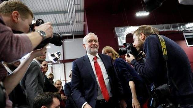 Labour Party Jeremy Corbyn leaves after giving a speech on Brexit at the National Transport Design Centre at Coventry University on Monday.(REUTERS)