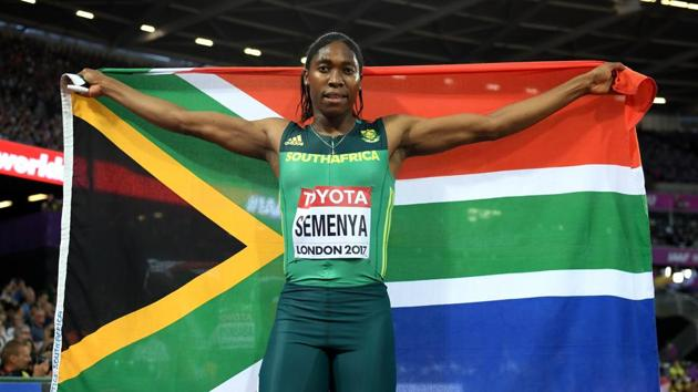 File -- Caster Semenya of South Africa celebrates winning gold in the Women's 800 Metres final during day ten of the 16th IAAF World Athletics Championships (London 2017) at The London Stadium on August 13, 2017.(Getty Images)