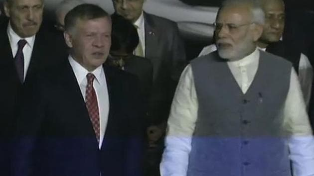 Prime Minister Narendra Modi receives Jordan's King Abdullah II bin Al-Hussein in New Delhi on Tuesday. He is on a three-day visit to India.(ANI Twitter)