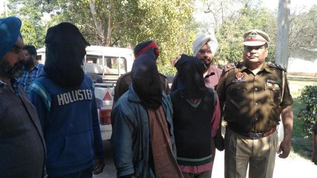 The accused priests in police custody in Sangrur.(HT Photo)
