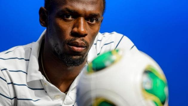 100 metre world-record holder Usain Bolt revealed he is to take part in Soccer Aid today.(AFP)