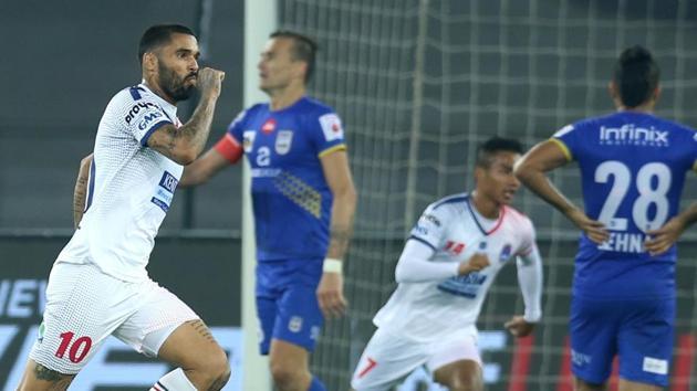 Matias Mirabaje of Delhi Dynamos FC celebrates after scoring against Mumbai City FC in their Indian Super League (ISL) match held at the Jawaharlal Nehru Stadium, New Delhi, on Tuesday.(ISL / SPORTZPICS)