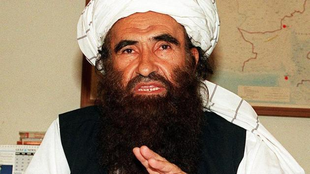 In this photograph taken on October 19, 2001, founder of the Haqqani network Maulvi Jalaluddin Haqqani, gestures as he speaks with a group of media representatives in Pakistan's city of Islamabad.(AFP File Photo)