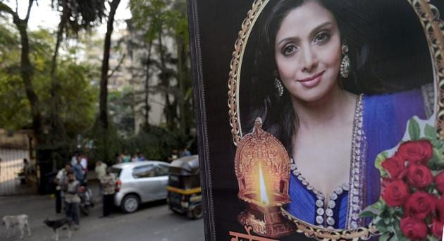 Mumbai: People outside actress Sridevi's residence in Mumbai on Tuesday. PTI Photo by Shashank Parade(PTI)