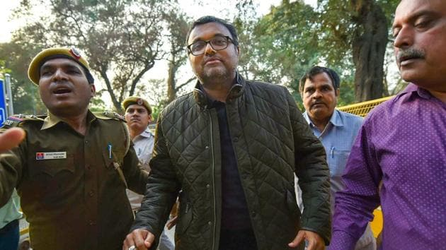 Karti Chidambaram escorted by police personnel to the Patiala House court in New Delhi on February 28.(PTI Photo)