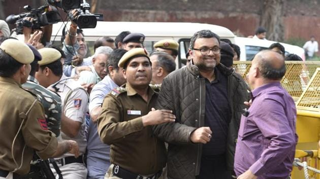 Karti Chidambaram, the son of former finance minister P Chidambaram, was produced by the CBI in a Delhi court on Wednesday.(HT Photo)