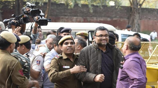 Karti Chidambaram, son of former finance minister P Chidambaram was produced by the CBI at Patiala house Court in connection with its probe in the INX media case in New Delhi on Wednesday.(HT PHOTO)