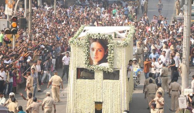 The last rites of Sridevi underway in Mumbai on February 28.(IANS)