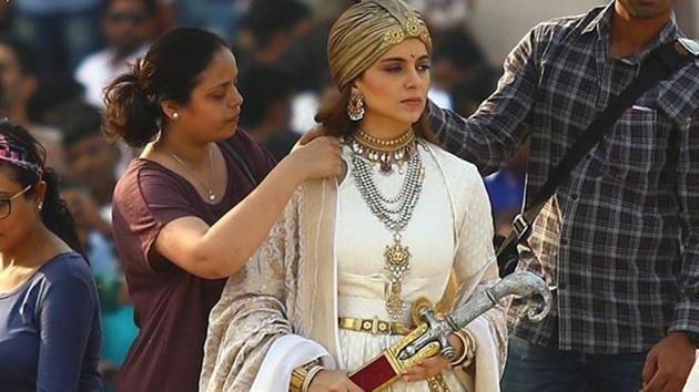Kangana Ranaut during the shooting of Manikarnika: The Queen of Jhansi at Amber Fort in Jaipur. (IANS)