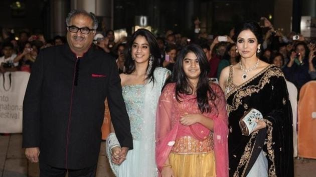 Late Sridevi Kapoor with her family.