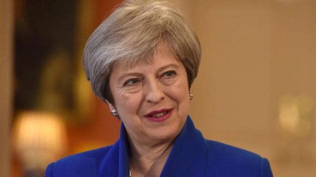 Britain's Prime Minister Theresa May appears on BBC television in London, March 2, 2018.(REUTERS)