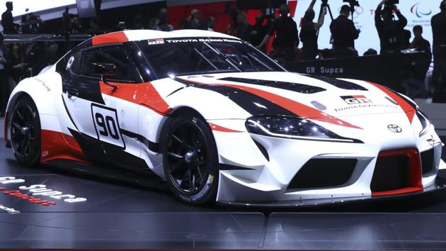 The Toyota Supra on display on the opening day of the 88th Geneva International Motor Show in Geneva, Switzerland, on Tuesday.