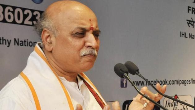 VHP leader Pravin Togadia Togadia has claimed he could have been killed had his SUV not been bullet-proof.(File Photo)