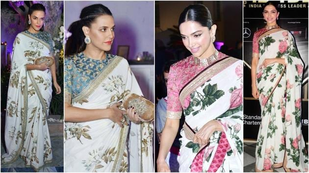There are many examples of how celebrities style their floral sarees, from actors Neha Dhupia and Deepika Padukone to actors Bipasha Basu and Aditi Rao Hydari.(Instagram)