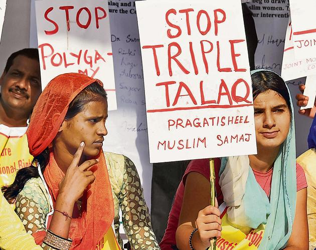 Time for a fresh secular code applicable to all Indian citizens alike?: Activists protest against Triple Talaq in New Delhi on 5 October 2017.(Kamal Singh/PTI)