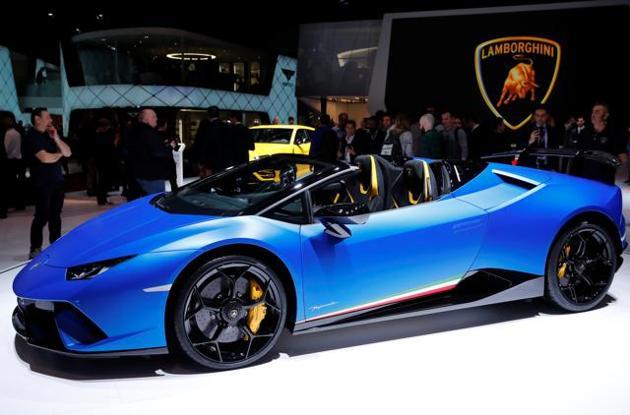 The Lamborghini Huracan Performante Spyder on display at the 88th Geneva International Motor Show.