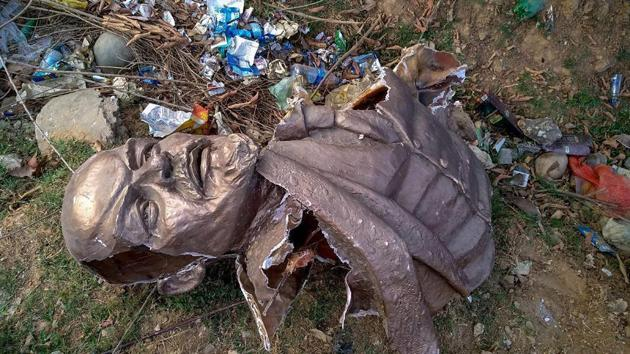 Remains of the five-feet tall statue of Lenin vandalised in Tripura earlier this week.(HT file)
