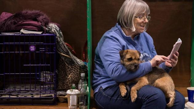 A woman sits with her Border Terrier dog on the second day of the Crufts dog show.(AFP)