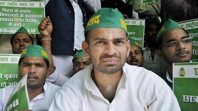 RJD chief Lalu's Prasad's son and MLA Tej Pratap Yadav during a protest in Patna.(PTI File Photo)