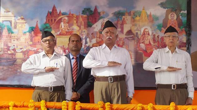 RSS chief Mohan Bhagwat at the Sangh-Samagam in Varanasi on Sunday.(PTI File Photo)
