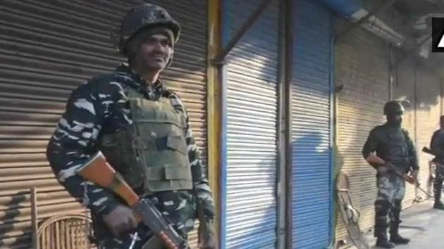 Security forces in Anantnag's Hakura where three terrorists were killed in an encounter on Monday morning.(ANI Photo)