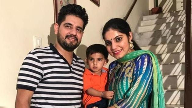 Puneet Kaur with her family in a file photo.(HT File)