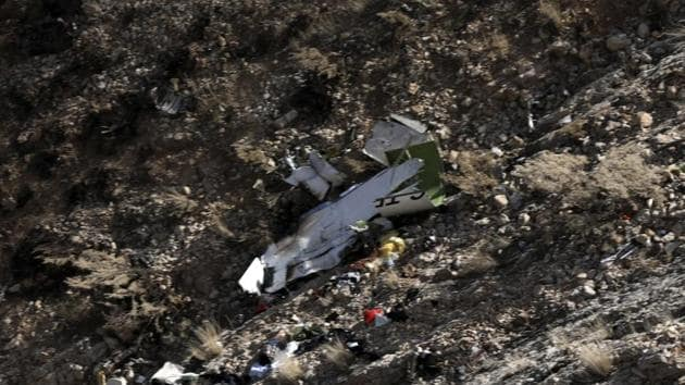 A view of the wreckage of a Turkish private jet that crashed on Sunday in Zagros Mountains, outside of the city of Shahr-e Kord, some 370 kilometers south of the capital Tehran, Iran on March 12.(AP Photo)