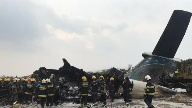 Wreckage of an airplane at Kathmandu airport on March 12, 2018.(Reuters)